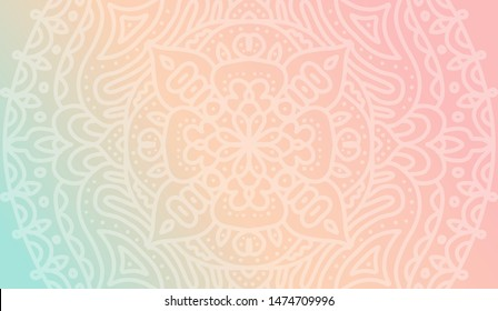Dreamy tender gradient wallpaper with mandala pattern. Vector horizontal background for meditation poster, banner for yoga school