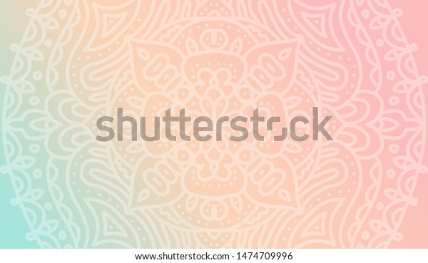 Dreamy Tender Gradient Wallpaper Mandala Pattern Stock Vector Royalty Free 1474709996
