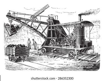 Dredge spoon on wagon, vintage engraved illustration. Industrial encyclopedia E.-O. Lami - 1875.