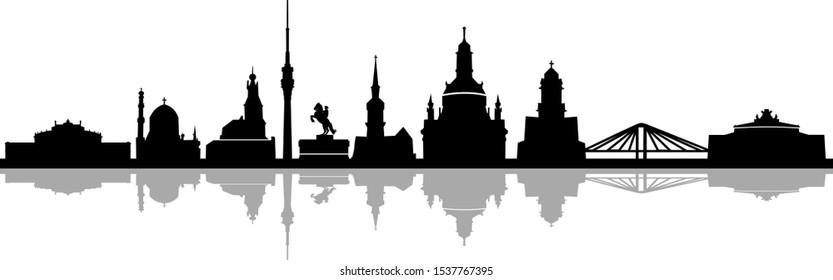 Dresden City Skyline Cityscape Vector