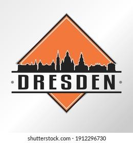 Dresden, Germany Skyline Logo. Adventure Landscape Design Vector City Illustration Vector.