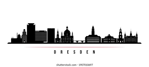 Dresden skyline horizontal banner. Black and white silhouette of Dresden, Germany. Vector template for your design.