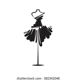 dress black mannequin illustration
