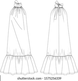 Dress with bowtie, front and back view, vector fashion illustration