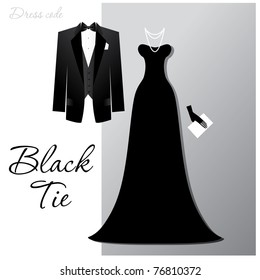 Dress code - Black tie. The man - a black tuxedo and black butterfly, a woman - a long evening dress and expensive jewelry.