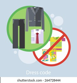 Dress code for the celebrations. Concept in flat design style. Can be used for web banners, marketing and promotional materials, presentation templates