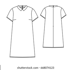dress with collar technical vector sketch
