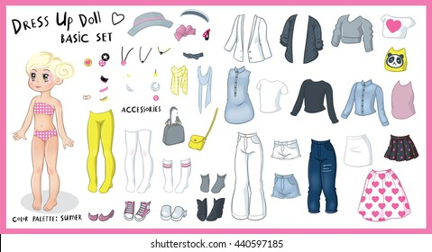 dress up cute blonde paper doll - color palette: summer - the basic set