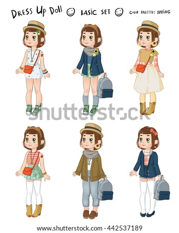 34386618491fe dress up cute brown-haired paper doll - color palette  spring - the basic