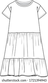 DRESS, Fashion Flat Sketches, Apparel Design Template. Gathered detail dress.
