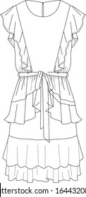 DRESS, Flat Fashion Sketches, apparel templates