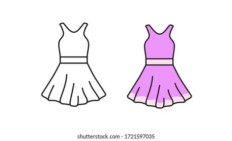 Dress icon. Clothes for women. Linear vector symbol in a flat style.