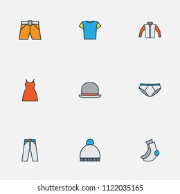 Dress icons colored line set with blouse, cardigan, fedora and other shorts elements. Isolated vector illustration dress icons.