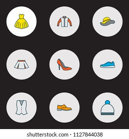 Dress icons colored line set with boots, waistcoat, cardigan and other skirt elements. Isolated vector illustration dress icons.