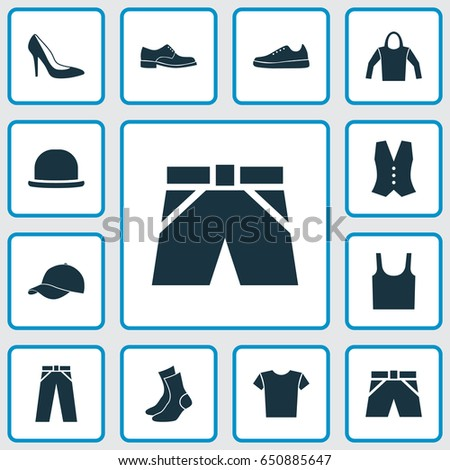 b65c64e7 Dress Icons Set. Collection Of Casual, Trilby, Half-Hose And Other  Elements. Also Includes Symbols Such As Tank, Pants, Sweatshirt. - Vector