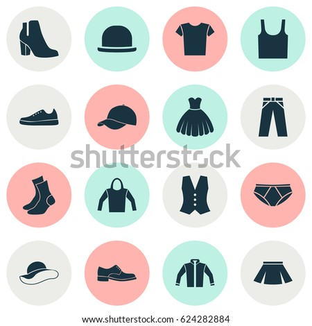 76aa260a Dress Icons Set. Collection Of Trilby, Casual, Pants And Other Elements.  Also Includes Symbols Such As Trousers, Sweatshirt, Leggings. - Vector