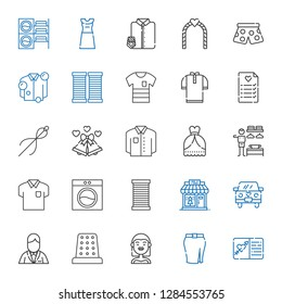 dress icons set. Collection of dress with wedding invitation, skirt, bride, thimble, groom, wedding car, clothing shop, thread, washing machine. Editable and scalable dress icons.