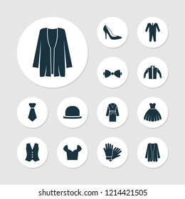 Dress icons set with fashionable, blouse, bow tie and other tie elements. Isolated vector illustration dress icons.