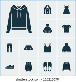 Dress icons set with gumshoes, clothes, skirt and other jeans elements. Isolated vector illustration dress icons.