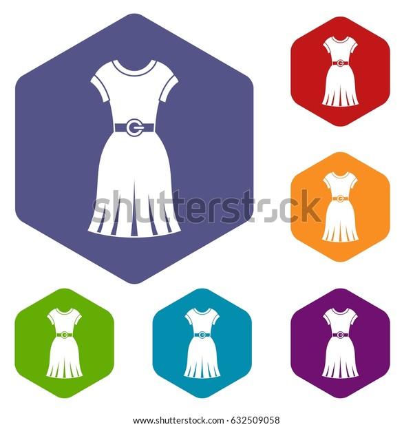 Dress icons set hexagon isolated vector illustration