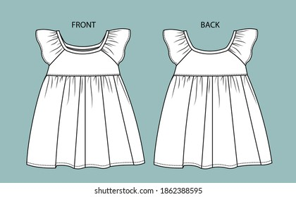 dress for kids front and back view.