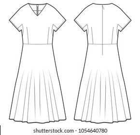 Dress one piece fashion vector illustration flat sketches template