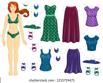 Dress up paper dall - woman Autumn - set of clothes