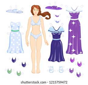 Dress up  paper dall - woman with dresses. Set of clothes