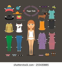 Dress up paper doll with big head. Pants and dresses, shoes and hats, fashion. Vector illustration