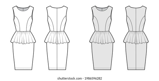 Dress peplum technical fashion illustration with sleeveless, fitted body, knee length sheath skirt, round neck. Flat apparel front, back, white, grey color style. Women, unisex CAD mockup