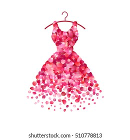 Dress of pink rose petals. Vector icon