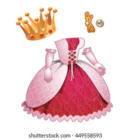 Dress and Princess crown isolated on a white background. Vector illustration.