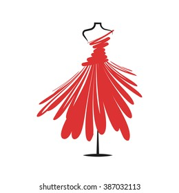 a  dress red mannequin illustration