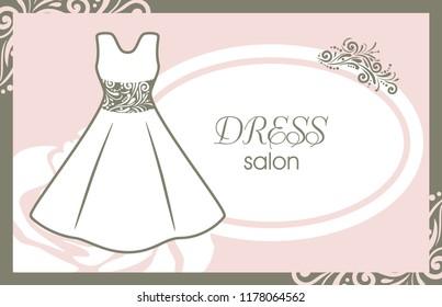 Dress salon. Card for fashion design. Vector