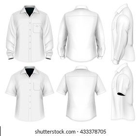 Dress shirts (button-down). Short and long sleeve. Vector illustration.