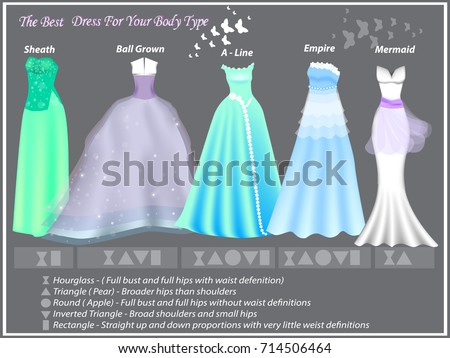 Dress Styles Different Body Type Dresses Stock Vector Royalty Free