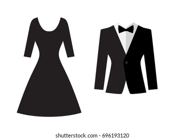 Dress and suit icon isolated on white background. Evening dress vector silhouette. Men formal suit symbol. Married couple logo