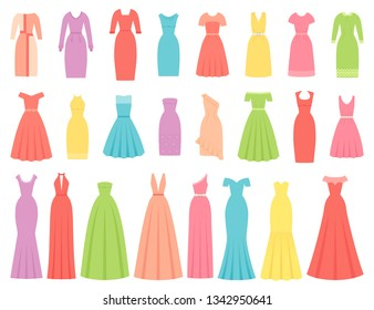 Dress for women. Vector. Evening, cocktail and business dresses. Dress apparel set isolated. Girl clothing in flat design. Cartoon illustration. Female textile garment silhouette on white background.