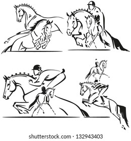 Dressage and jumping Brush drawing-based  illustrations showing composition of dressage and jumping riders.