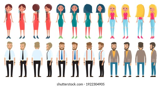 Dresscode of different women, men, brunette with pigtails and red dress, girl with bob hairstyle in green dress, smiling blonde in jeans, collection of different style businessmen in office costumes
