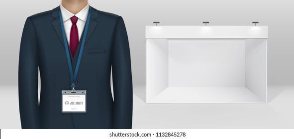 Dressed in black suit businessman business man id card badge holder lanyard standing and blank white trade booth exhibition stand realistic vector illustration isolated