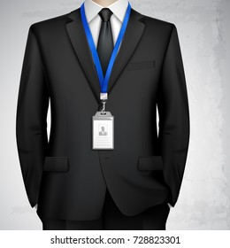 Dressed in black suit businessman with id card badge holder on blue lanyard realistic image vector illustration
