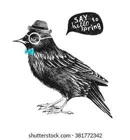 dressed up hand drawn starling