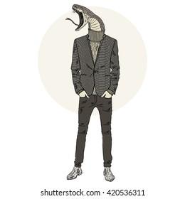 dressed up snake man, furry art illustration, fashion animals, hipster animals