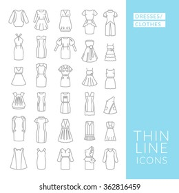 Dresses and clothes. Set with thin line icons. Vector illustration. EPS 10