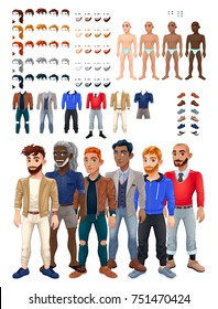 Dresses and hairstyles game with male avatar. Vector illustration, isolated interchangeable objects.