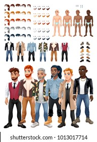 Dresses and hairstyles game with male avatars. Vector illustration, isolated interchangeable objects.