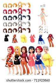 Dresses and hairstyles game. Vector illustration, isolated objects. 6 hairstyles with 5 colors each one, 6 different dresses, 5 eyes colors, 6 shoes.