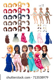 Dresses and hairstyles game. Vector illustration, isolated objects. 6 hairstyles with 5 colors each one, 6 different dresses, 5 eyes colors, 6 shoes, 3 skin colors.