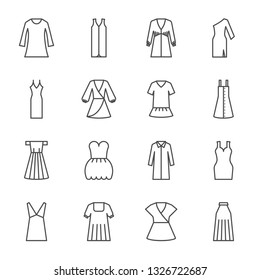 Dresses vector icons set